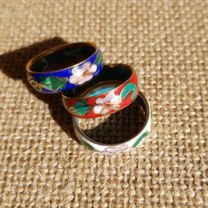 3 vintage cloisonne enamel rings